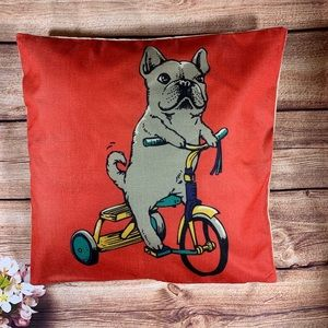 Frenchie On a trike decorative pillow